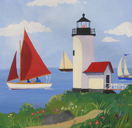 An 18 in x 18 in acrylic painting of Annisquam Lighthouse