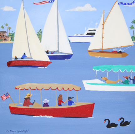 Black swans with Duffy Electric Boats and Sailboats