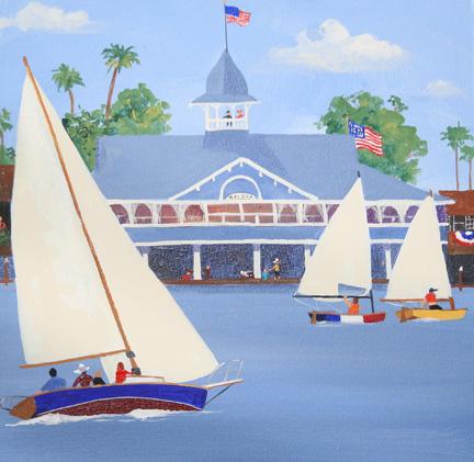 Balboa Pavillion with Naple Sabots Sailing By