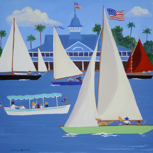 A view of the Balboa Pavillion in August showing classic sailboats and a Duffy Electric Boat