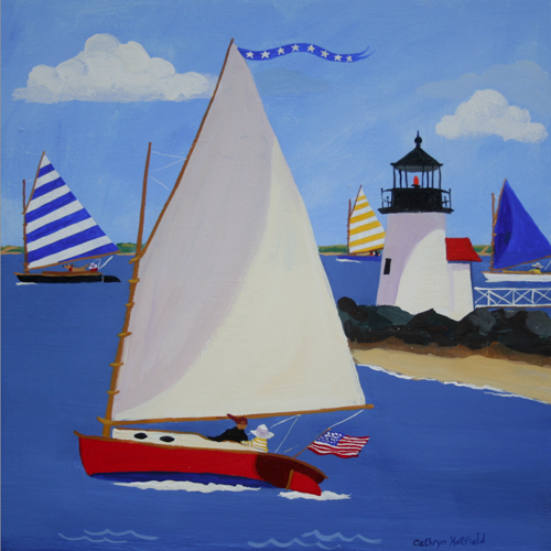 Catboat and Beetle Cats sail around Brandt Point Lighthouse on Nantucket Island in a painting by Cathryn Hatfield
