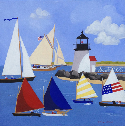 Nantucket Rainbow Fleet sailing around Brandt Point Lighthouse with classic sailboats