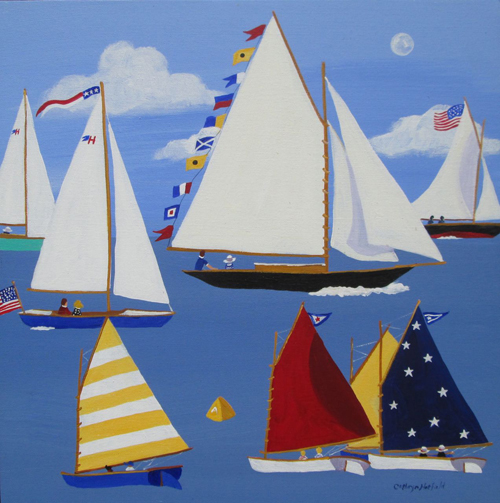Friendship Sloop sailing with Beetle Cats racing in foreground on a sunny August Day