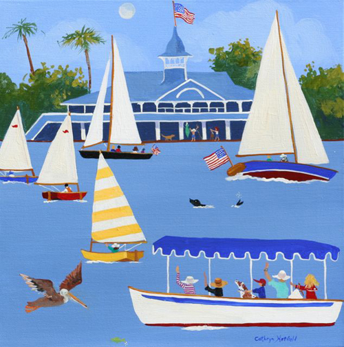 View from the Balboa Island Ferry of the Balboa Pavilion and sailboats and a Duffy Electric Boat with a brown pelican flying by in an acrylic painting by Cathy Hatfield