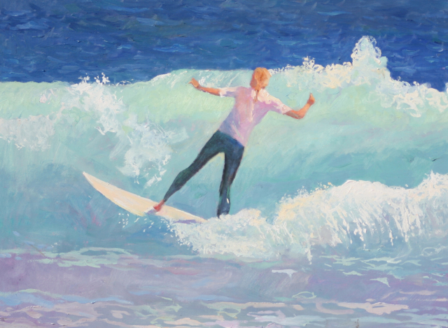 Original Oil Painting by Cathy Hatfield of a girl surfing the south side of the Huntington Beach Pier