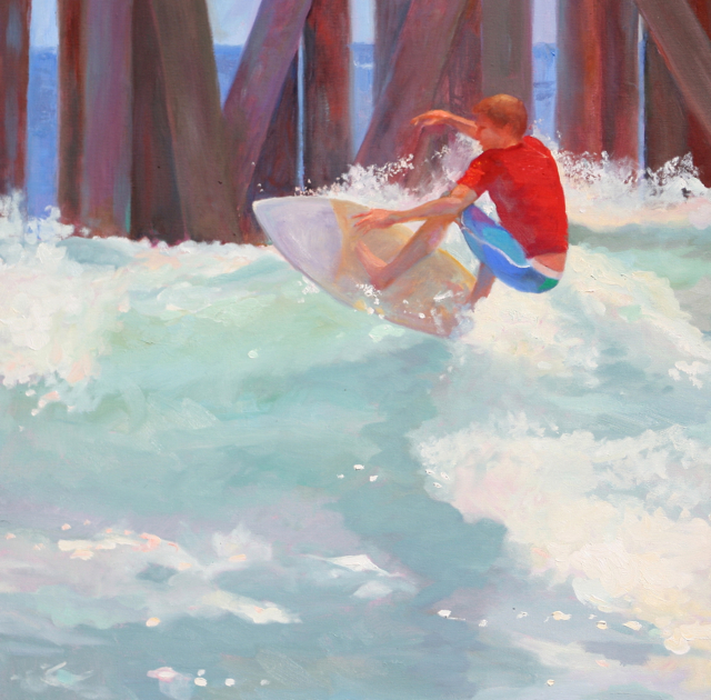 Pier Soup an original oil painting by Cathryn Hatfield of a surfer on the south side of Huntington Beach Pier