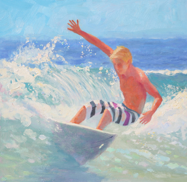 Surfer on North Side of Huntington Beach Pier in an original oil painting by Cathryn Hatfield
