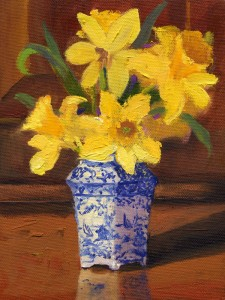 Origianal Oil Painting Daffodils by artist Cathryn Hatfield or Cathy Hatfield
