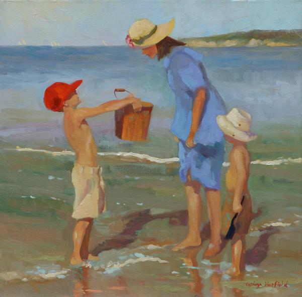 Original Oil Painting by California artist Çathryn Hatfield beach scene