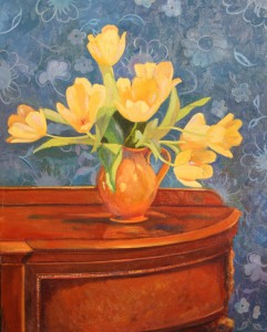 Majestic Tulips an original oil painting on linen by artist Cathryn Hatfield.