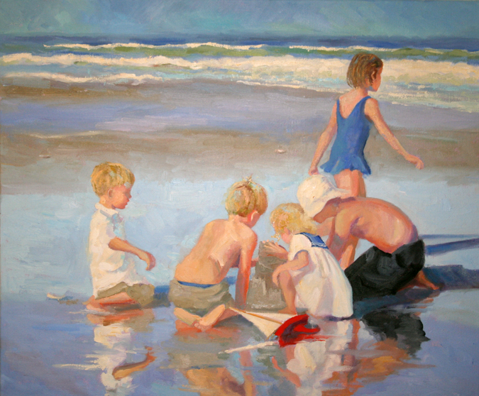 Original oil painting by Cathy Hatfield 20 x 24 inches oil on linen children at beach
