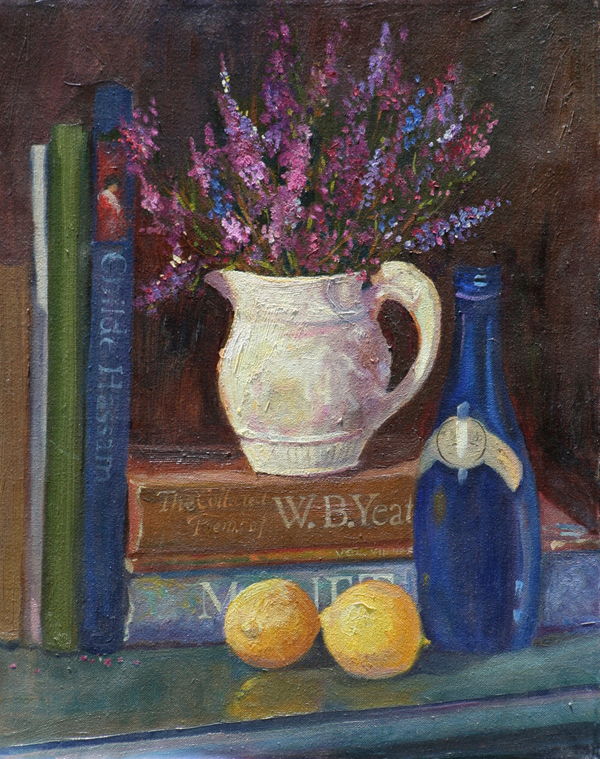 Original Oil Painting by Cathryn Hatfield a stillife with heather and Yeats, lemons and Ty Nant Water