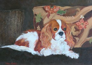 Bernie a Cavalier King Charles Spaniel in an oil painting by artist Cathryn Hatfield