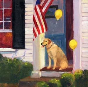 Original Oil Painting Lab Loves a Parade by artist Cathryn Hatfield