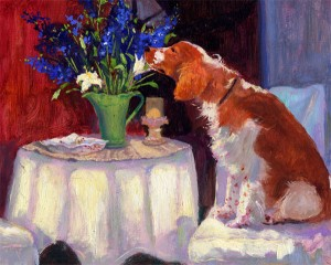 Winslow and the Delphiniums an original oil painting by artist Cathryn Hatfield or Cathy Hatfield of her Welsh Springer Spaniel Winslow