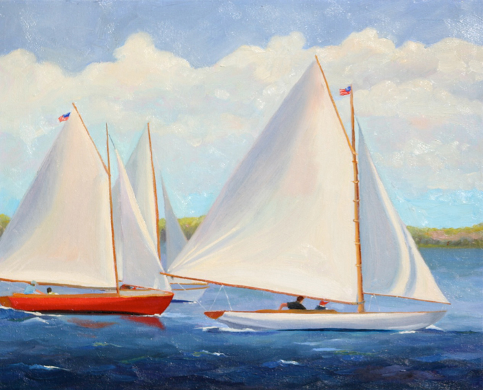 Original Oil Painting of sailboats racing by artist Cathryn Hatfield,  also known as Cathy Hatfield
